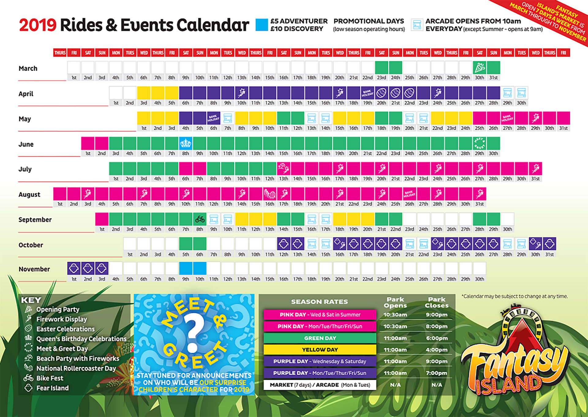 Rides Calendar & Prices | Fantasy Island